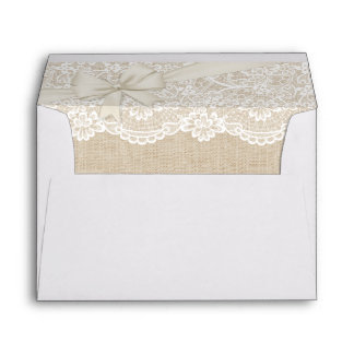Elegant Chic Ivory Burlap Lace Ribbon Wedding 5x7 Envelope