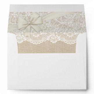 Elegant Chic Ivory Burlap Lace Ribbon Wedding 5x7 Envelope
