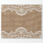 Elegant Chic Lace Decor on Rustic Country Burlap Wrapping Paper