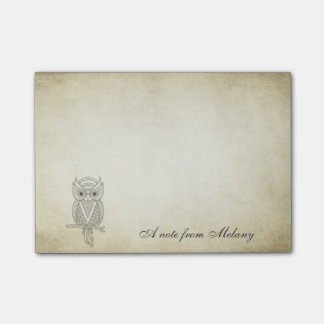 Elegant chic lady owl vintage post-it® notes