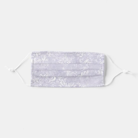 Elegant Chic Lavender and White Damask Pattern Cloth Face Mask