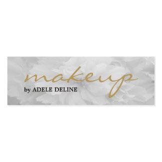 Elegant Chic Light Grey Floral Makeup Artist Mini Business Card
