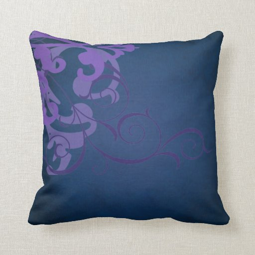 Elegant Chic Lillac Scroll Blue Mojo Pillow