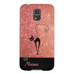 Elegant  chic luxury contemporary glittery cat galaxy s5 case