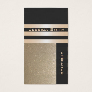 Elegant  chic luxury contemporary golden glittery business card