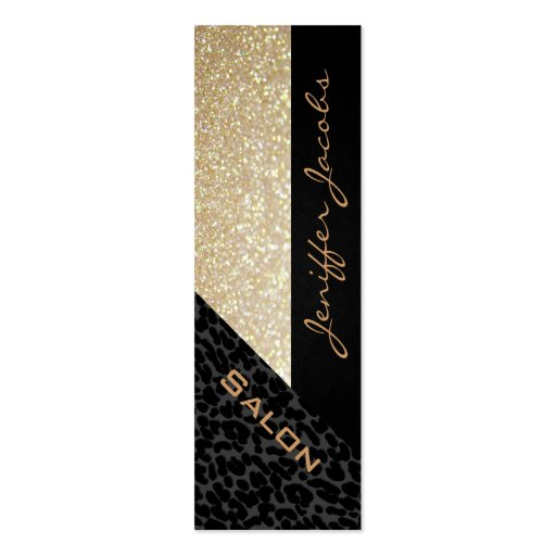 Elegant chic luxury contemporary leopard glittery business card template