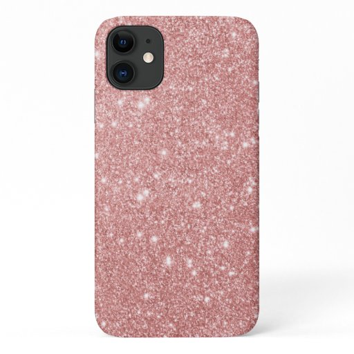 Elegant Chic Luxury Faux Glitter Rose Gold iPhone 11 Case
