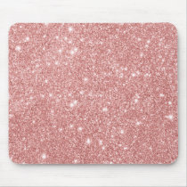 Elegant Chic Luxury Faux Glitter Rose Gold Mouse Pad