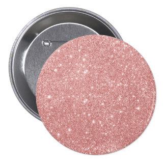Elegant Chic Luxury Faux Glitter Rose Gold Pinback Button