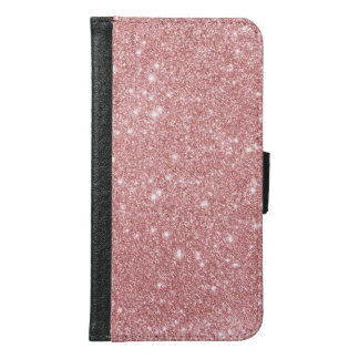 Elegant Chic Luxury Faux Glitter Rose Gold Wallet Phone Case For Samsung Galaxy S6