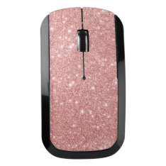 Elegant Chic Luxury Faux Glitter Rose Gold Wireless Mouse at Zazzle