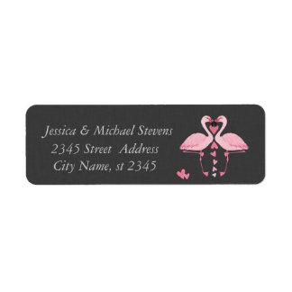 Elegant chic luxury vintage romantic flamingos label