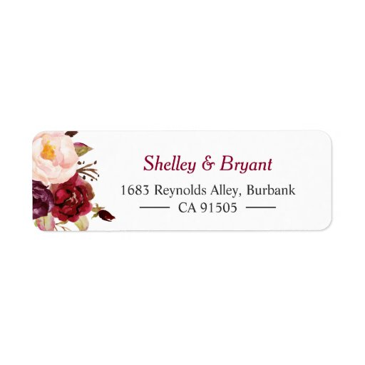 Elegant Chic Marsala Burgundy Red Autumn Floral Label
