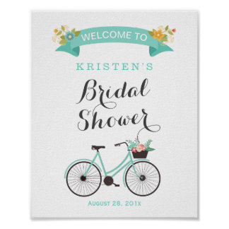 Elegant Chic Mint Green Bicycle Bridal Shower Sign Poster
