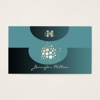 Elegant chic modern confetti ellipse monogram business card