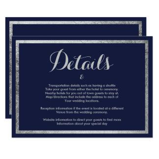 Elegant chic modern navy blue faux silver Details Invitation