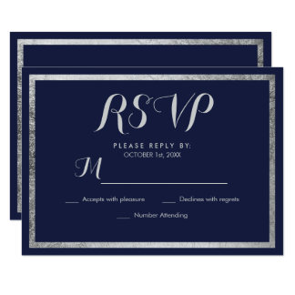 Elegant chic modern navy blue faux silver RSVP Card