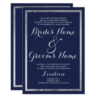 Elegant chic modern navy blue faux silver Wedding Card