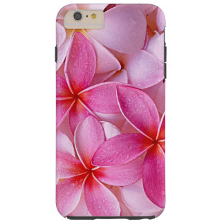 Elegant Chic Pastel Pink Hawaiian Plumeria Flowers Tough iPhone 6 Plus Case