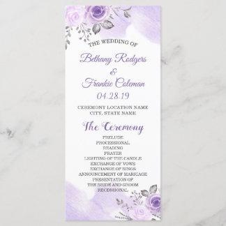 Elegant Chic Pastel Purple Flowers Wedding Program