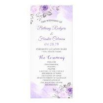 Elegant Chic Pastel Purple Flowers Wedding Program