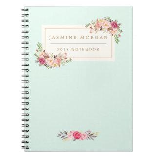Elegant Chic Pastel Watercolor Floral Boutique Spiral Notebook