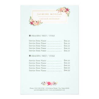 Elegant Chic Pastel Watercolor Floral Price Flyer