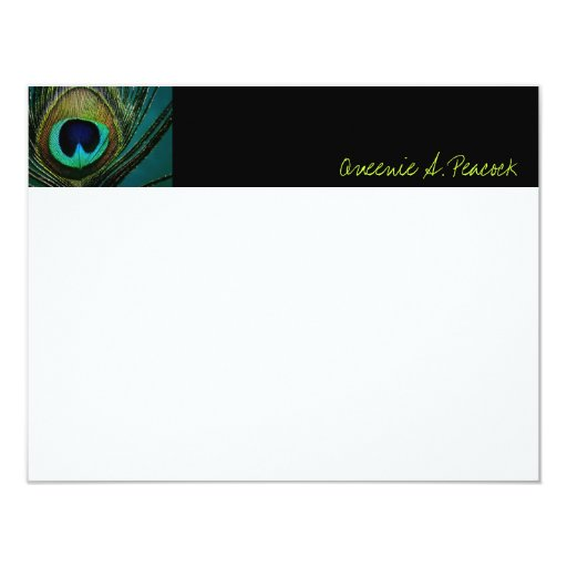 Elegant Chic Peacock Feathers Photo Thank You Card