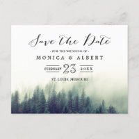 Elegant Chic Pine Trees Forest Save the Date Announcement Postcard