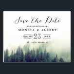 "Elegant Chic Pine Trees Forest Save the Date Postcard<br><div class=""desc"">================= ABOUT THIS DESIGN ================= 