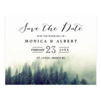 Elegant Chic Pine Trees Forest Save the Date Postcard