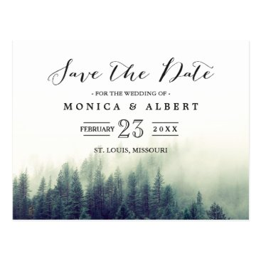 CardHunter Elegant Chic Pine Trees Forest Save the Date Postcard