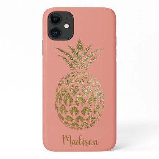 Elegant Chic Pink Coral Gold Pineapple Teal Custom iPhone 11 Case