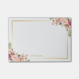 Elegant Chic Pink Floral Decor with Gold Frame Post-it Notes