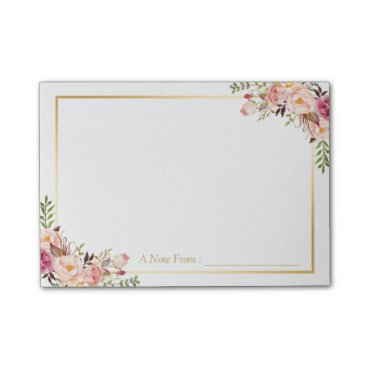 CardHunter Elegant Chic Pink Floral Decor with Gold Frame Post-it Notes