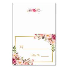 Elegant Chic Pink Floral Escort Wedding Place Card