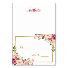 Elegant Chic Pink Floral Escort Wedding Place Card at Zazzle