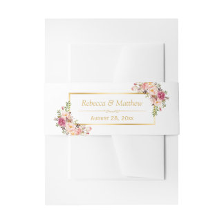Elegant Chic Pink Floral Gold Frame Wedding Invitation Belly Band