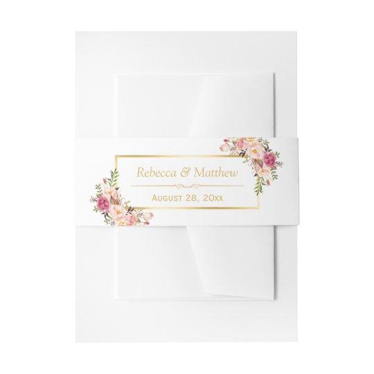 Elegant Chic Pink Floral Gold Frame Wedding Invitation Belly Band