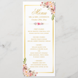 Elegant Chic Pink Floral Gold Frame Wedding Menu