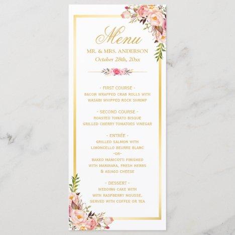 Elegant Chic Pink Floral Gold Frame Wedding Menu