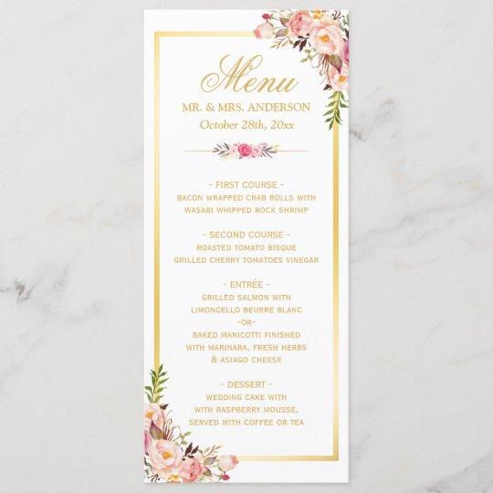 elegant chic pink floral gold frame wedding menu  zazzle