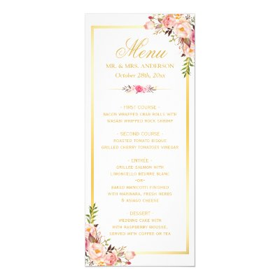 Vintage Wedding Menu Card | Elegant Flourish | Zazzle