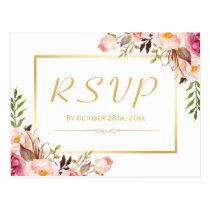 Elegant Chic Pink Floral Gold Frame Wedding RSVP Postcard