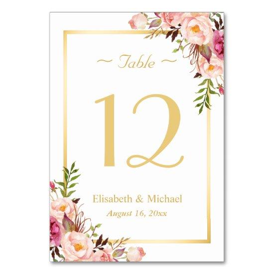 Elegant Chic Pink Floral Gold Wedding Table Number