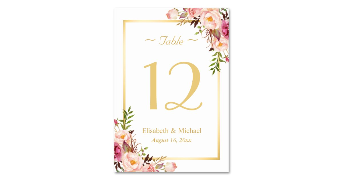 Elegant chic pink floral gold wedding table number for Table numbers template for weddings