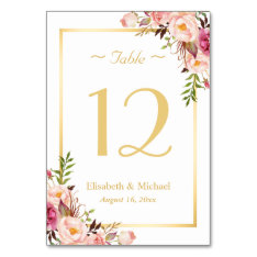Elegant Chic Pink Floral Gold Wedding Table Number Card at Zazzle