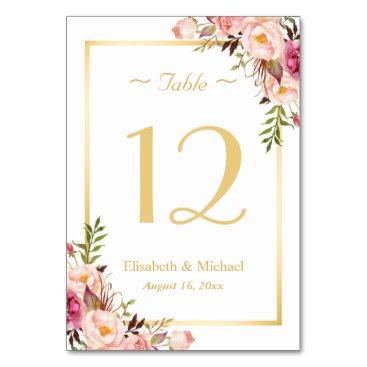 CardHunter Elegant Chic Pink Floral Gold Wedding Table Number Card