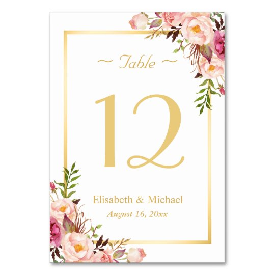 Elegant chic pink floral gold wedding table number card for Table 6 gift card