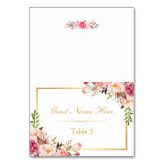 Elegant Chic Pink Floral Wedding Place Escort Card at Zazzle